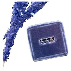 Lavender Blue Ceylon Sapphire & Diamond Single Stud Earring in 18 kt White Gold