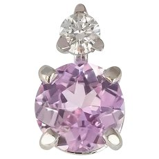 Pale Pink Ceylon Sapphire & Diamond Single Stud Earring in 18 kt White Gold