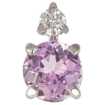 Pale Pink Ceylon Sapphire & Diamond Single Stud Earring in 18 kt White Gold