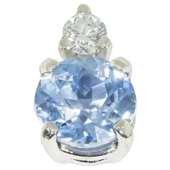 Pale Blue Ceylon Sapphire & Diamond Single Stud Earring in 18 kt White Gold