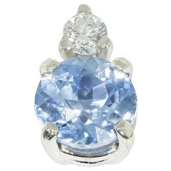 Pale Blue Ceylon Sapphire & Diamond Single Stud Earring in 18 kt White Gold