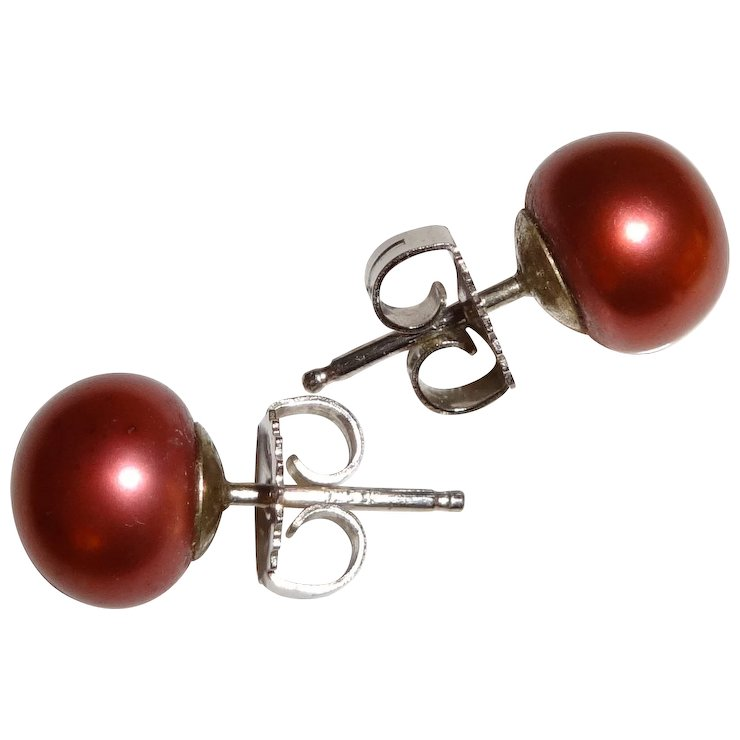 Honora Cultured Cranberry Pearl Stud Earrings 925 Posts Jackets