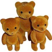 Flocked Jointed Teddy Bears - Set of 3