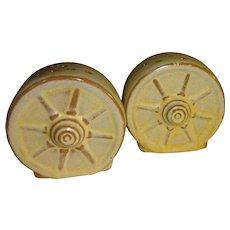 Frankoma Desert Gold Wagon Wheels Salt and Pepper Shakers