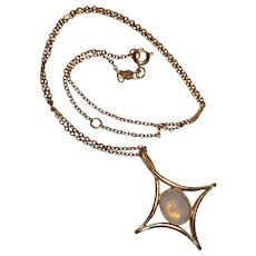 Signed Sarah Coventry Faux Opal Star Necklace
