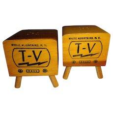 Advertising Wood T.V.'s Salt and Pepper Shakers
