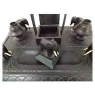 19th Century Carved Elephant Ebony Inkstand