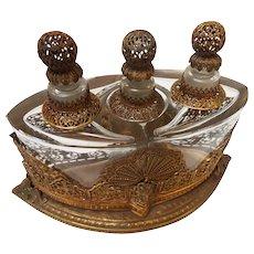 Antique Jugendstil German Brass and Copper Ormolu Perfume Caddy