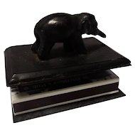 19th Century Bronze Elephant Match Box Holder