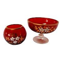Vintage Bohemian Ruby Glass Vanity Vessels