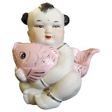 Vintage Bisque Chinese Child with Fish Statue