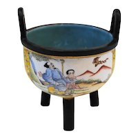 Chinese Enameled Bronze Tripod Cup-Exquisite!