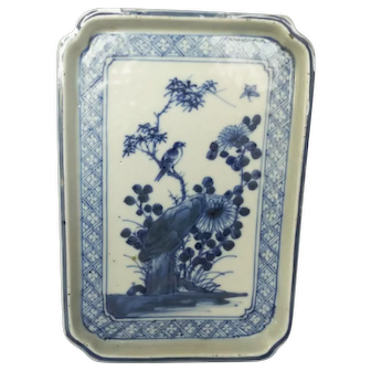 Antique Chinese Porcelain 17th Century Blue and White Scholars Tray