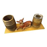 Vintage Tin and Wood Fawn Figural Pen and Ink Stand