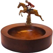 Vintage Cold Painted Steeple Chase Horse and Rider Mens Dresser Valet