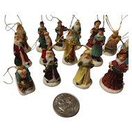 Vintage Ceramic Miniature Christmas Tree Ornament Set