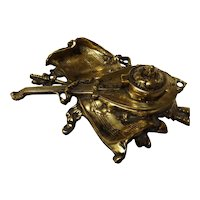 Vintage Brass Lute Desk Tray Inkwell