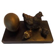 19th Century Cold Painted Bronze Chickens and Egg Inkwell