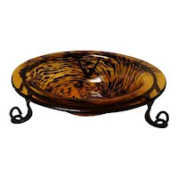 Mid-Century Modern Tiger Glass Centerpiece Bowl
