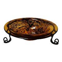 Vintage Mid Century Modern Tiger Glass Centerpiece Bowl