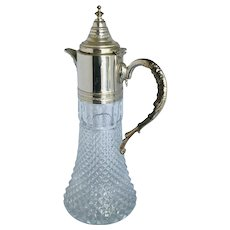 Vintage Pressed Glass and Silver Plated Pitcher