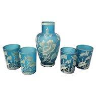 Vintage Teal Bohemian Florentine Art Cameo Glass Set