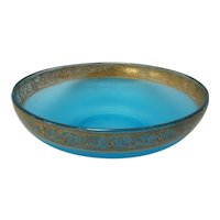 Large Vintage Blue Satin Glass Bowl with Gilded Thistle Border