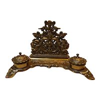 Large Rococo Style Vintage Brass Desk Caddy
