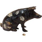 Vintage Cast Iron Sitting Pig Still Bank