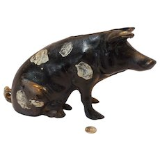 Vintage Cast Iron Sitting Pig Still Bank