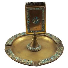 Antique Inlaid Brass Ashtray with Match Holder