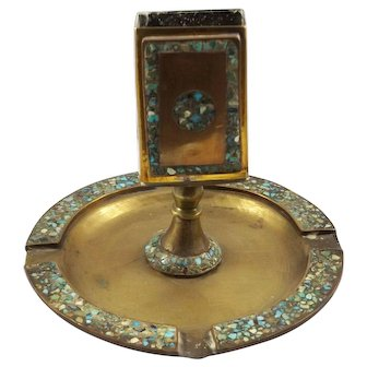 19th Century Inlaid Brass Ashtray with Match Holder