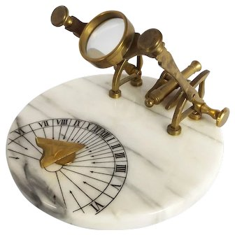 Victorian Marble and Brass Noon Cannon Sun Dial