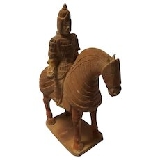 Chinese Tang Style Warrior and Horse Statue