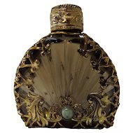 Bronze Glass Brass Filigree Wrapped Perfume Bottle