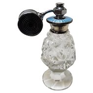 1948 British Cut Crystal Perfume Atomizer with Guilloche Top