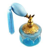 Vintage Blue Glass Enamel and Coraline Perfume Atomizer