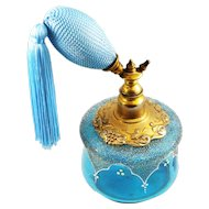 Vintage Blue Glass Enamel and Coraline Perfume Atomizer