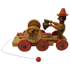 Vintage Wooden Xylophone Pull Toy
