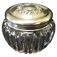 American Brilliant Period Cut Crystal Dresser Jar with Sterling Lid