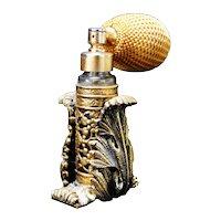 Vintage Artemisia Leaf Brass Wrapped Perfume Atomizer