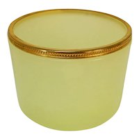 Vintage Yellow Opaline Uranium Glass Dresser Bowl