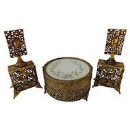 Vintage Ormolu and Painted Satin Vanity Set