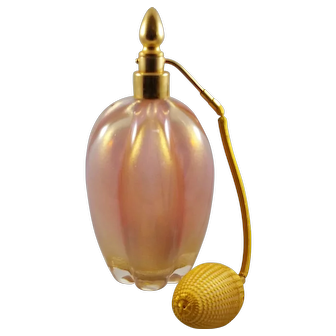 Vintage Murano Lobed Pink Opaline Gold Flake Perfume Atomizer