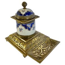 Vintage Hand Painted Porcelain and Bronze Inkwell