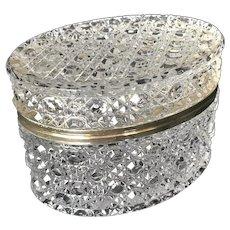 Vintage Pressed and Cut Faceted Lead Crystal Lidded Dresser Casket