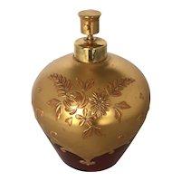 Vintage Gilded Cranberry Glass Perfume Spray Bottle