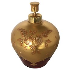 Vintage Gilded Cranberry Glass Perfume Spray Bottle