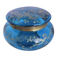 Antique Large Teal Glass Dresser Box with Raised Gilded Decoration