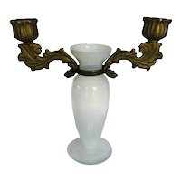Vintage White Opaline Vase with Bronze Candle Holders